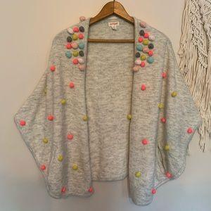 Cat & Jack Kids Grey Kimono Pom Pom Sweater